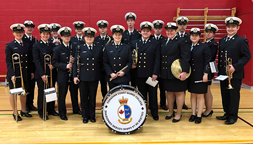 the Canadian Coast Guard College band standing with their instruments.