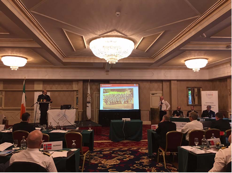 Assistant commissioner in Atlantic Region delivering presentation at the North Atlantic Coast Guard Forum in Dublin, Ireland.