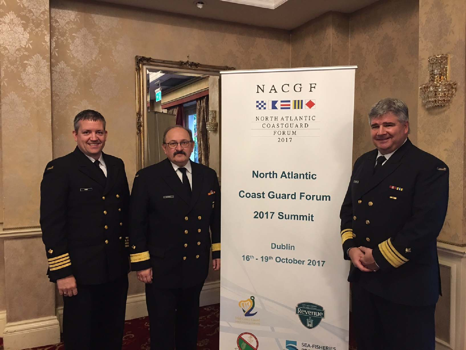 Gary Ivany, senior director, Operational Support, Canadian Coast Guard, Wade Spurrell, assistant commissioner in Atlantic Region and Mario Pelletier, deputy commissioner, at the North Atlantic Coast Guard Forum in Dublin, Ireland.