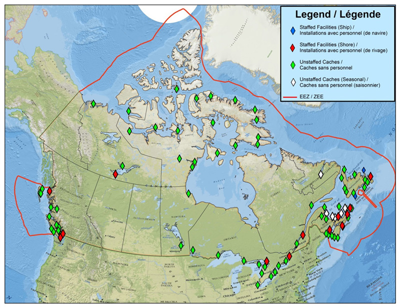 Map of environmental response equipment for Canadian Coast Guard depot sites.