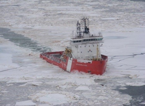 CCGS Captain Molly Kool at work, breaking ice.