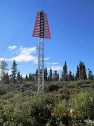 Unlit range tower in the Mackenzie River, a short distance from Great Slave Lake, Northwest Territories.