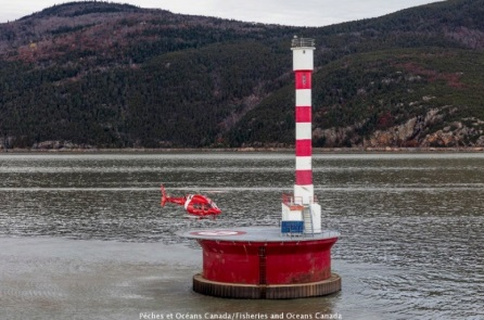 Cap Brûlé pillar in the St. Lawrence River, 25 nautical miles from Quebec City.
