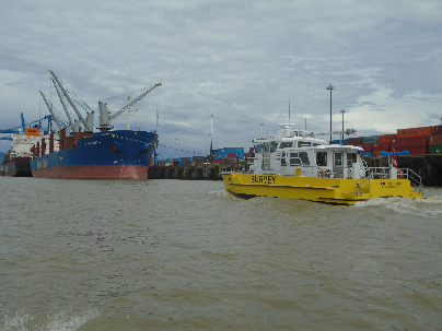 The Profiler II survey craft surveying local harbour waters.