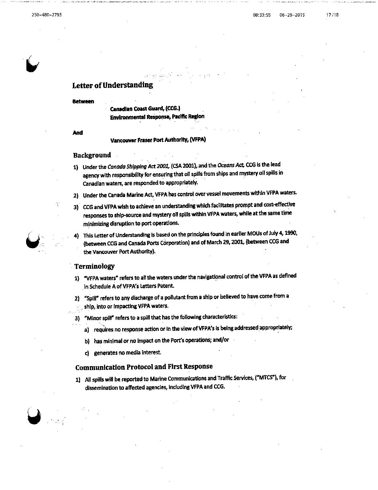 Scan of the 1st page of the Letter of Understanding between CCG and EC Western Region and the Vancouver Fraser Port Authority