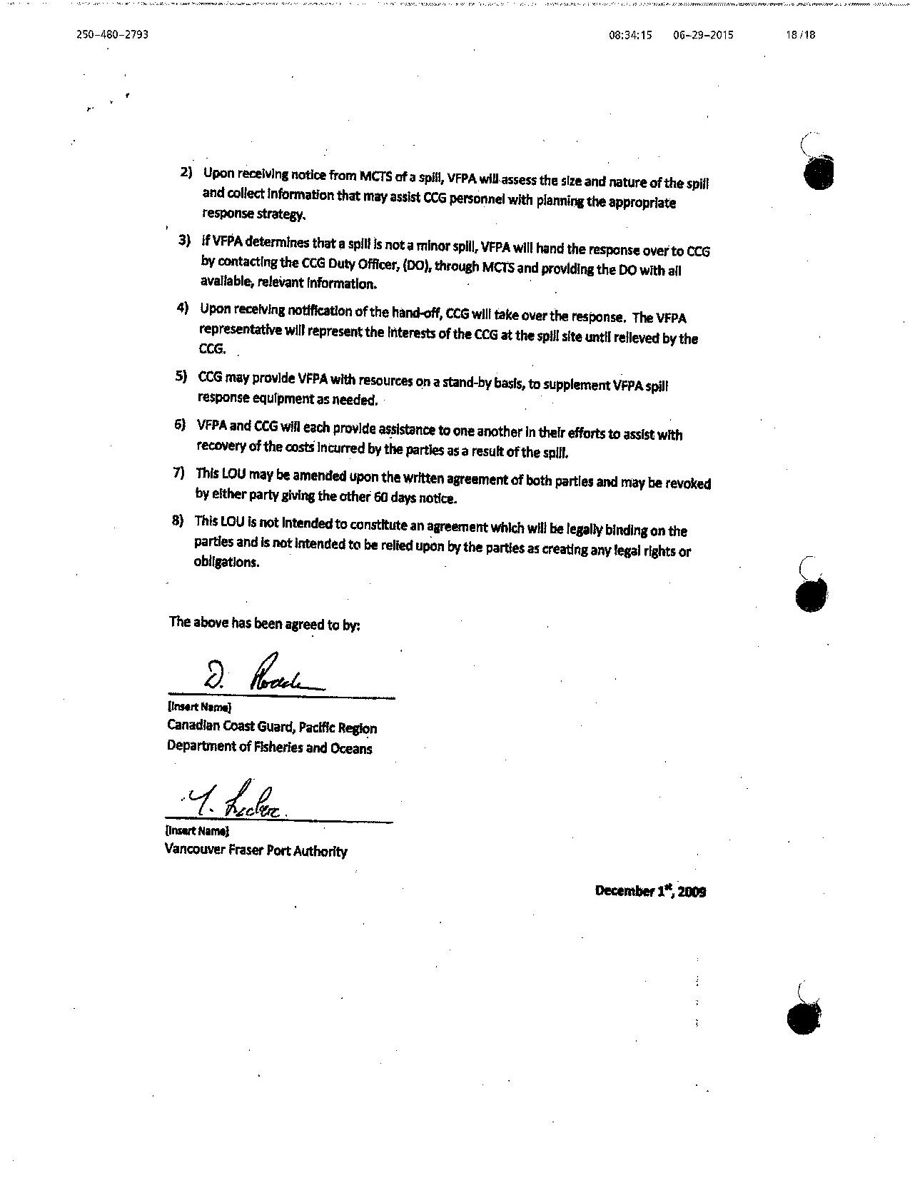 Scan of page 2 of the Letter of Understanding between CCG and EC Western Region and the Vancouver Fraser Port Authority