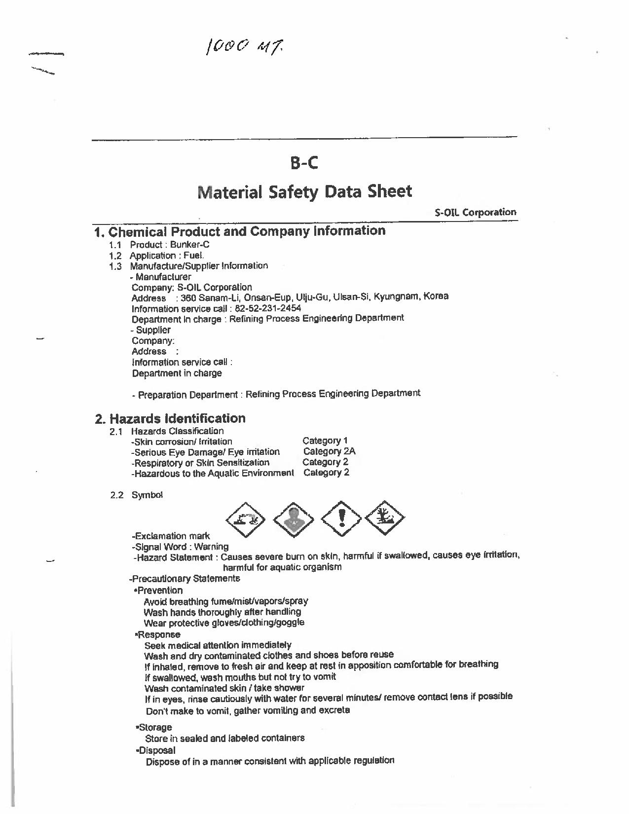 Scan of the 12th page of the M/V Marathassa's Material Safety Data Sheet