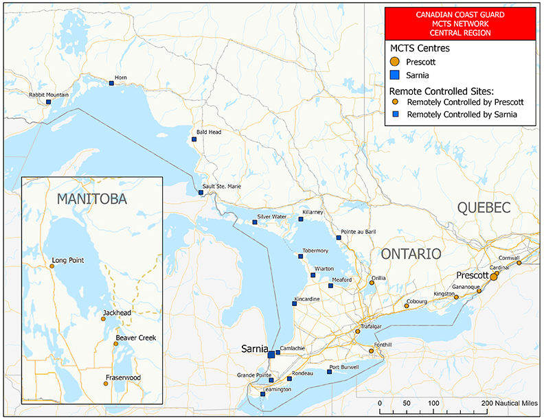 Radiotelephone VHF coverage – Great Lakes (chart)