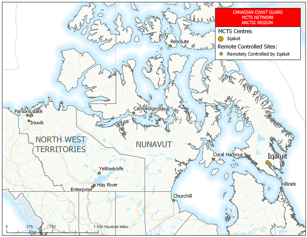 MCTS Network: Centres and Sites – Gulf and St. Lawrence River – Québec region (chart)