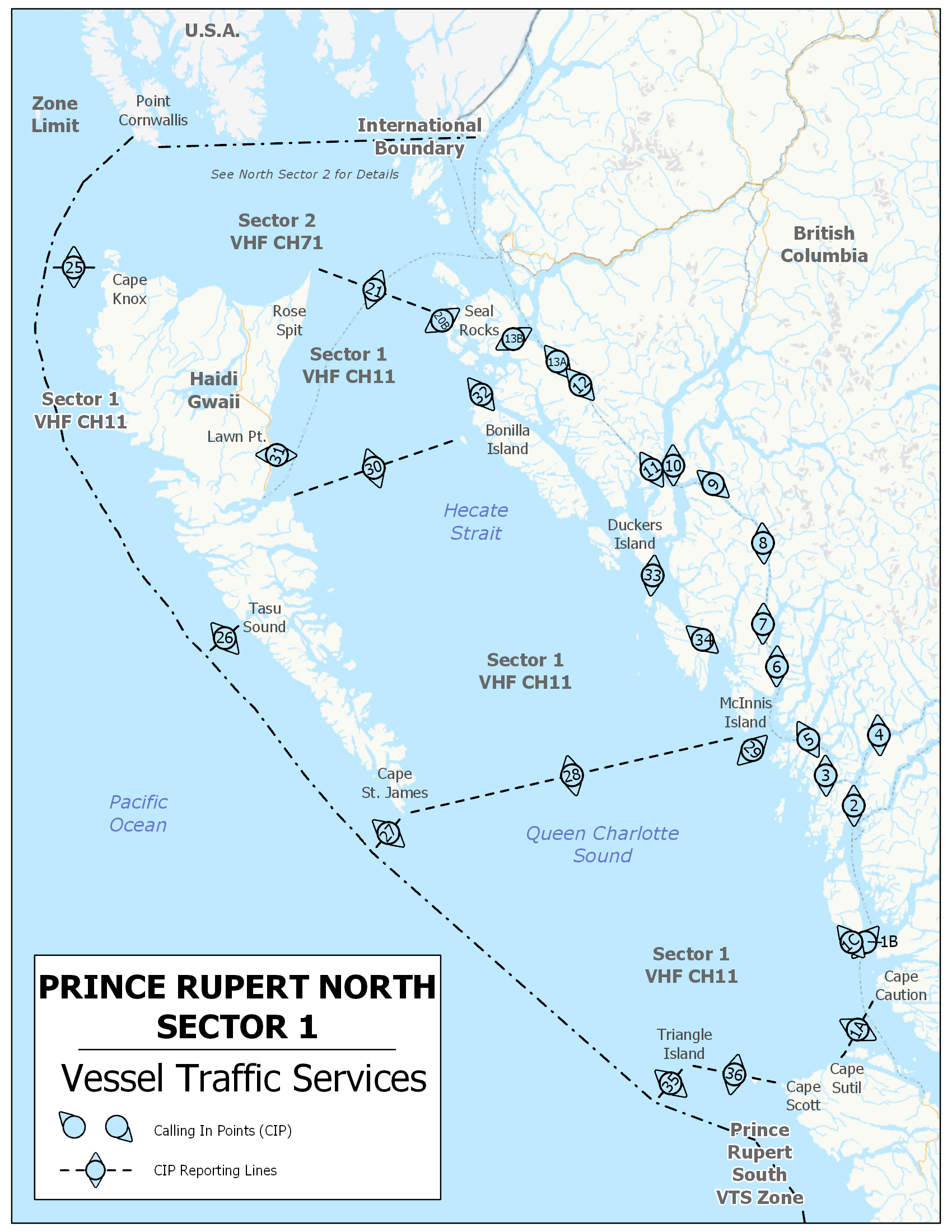 Prince Rupert - Vessel Traffic Services - Sector 1
