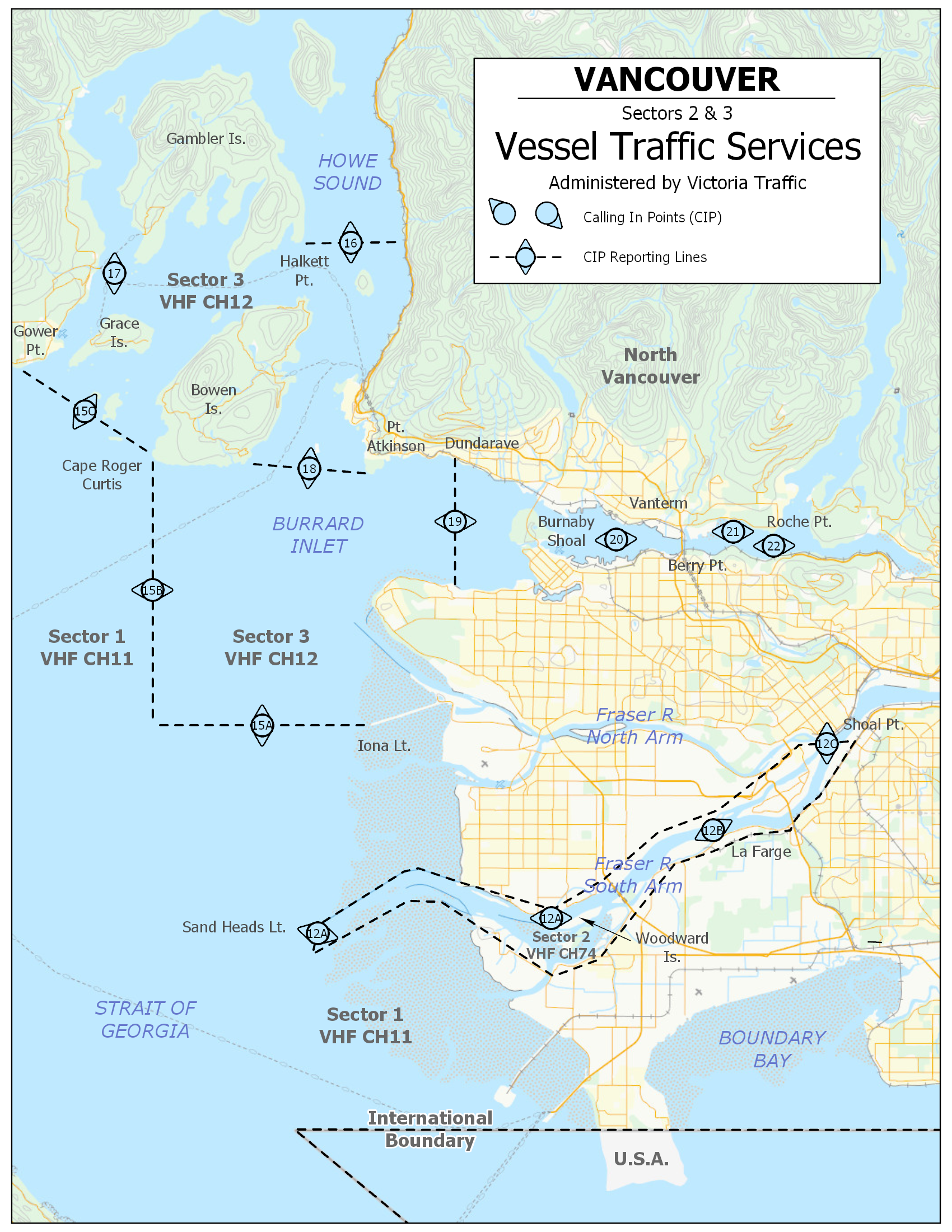Vancouver Vessel Traffic Services Sector 2 and 3