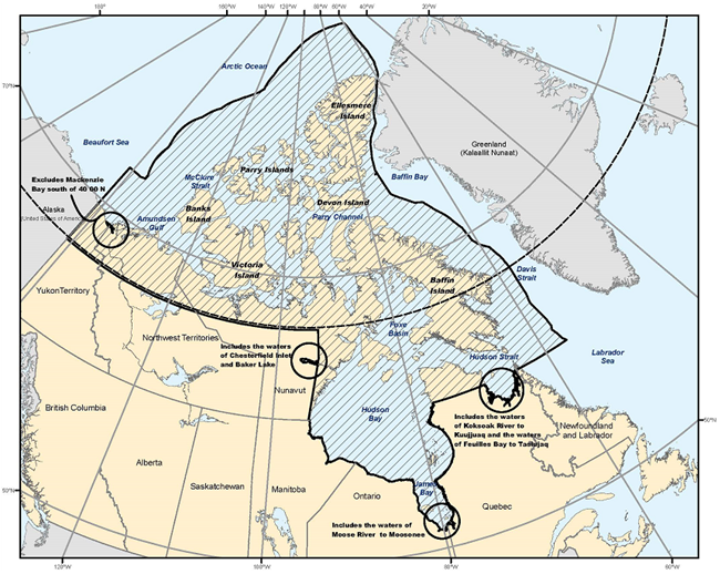 Northern Canada Vessel Traffic Services (NORDREG) Zone (chart)