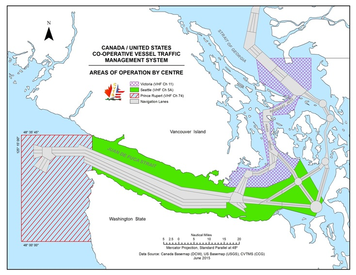 Canada/United States Co-operative Vessel Traffic Management System - Areas of operation by centre