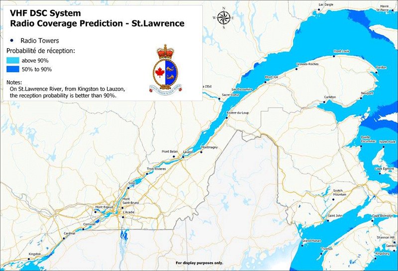 VHR DSC System Radio Coverage Prediction - St. Lawrence River (chart)