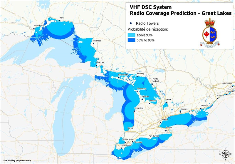 VHR DSC System Radio Coverage Prediction - Great Lakes (chart) - 2