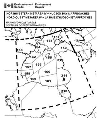 Environment Canada's map of Northwestern METAREA IV including Hudson Bay and Approaches