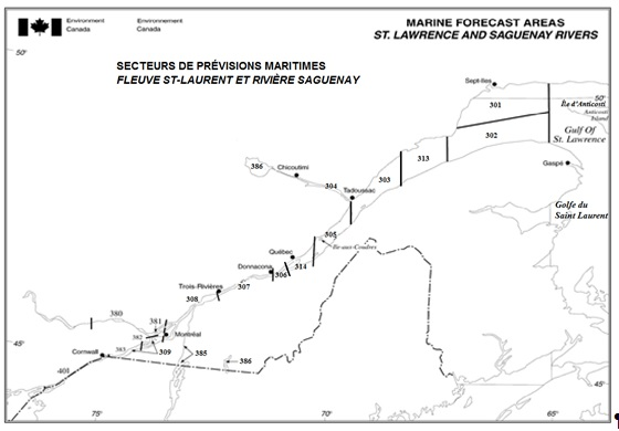 Marine forecast areas for the St Lawrence and Saguenay Rivers