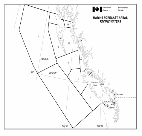 Environment Canada map of marine forecast areas in Pacific waters